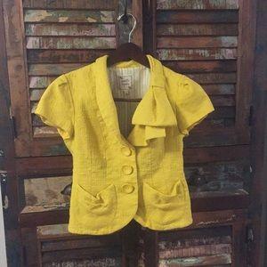 Nanette Lepore Yellow Woven Bow Neck Blazer Jacket
